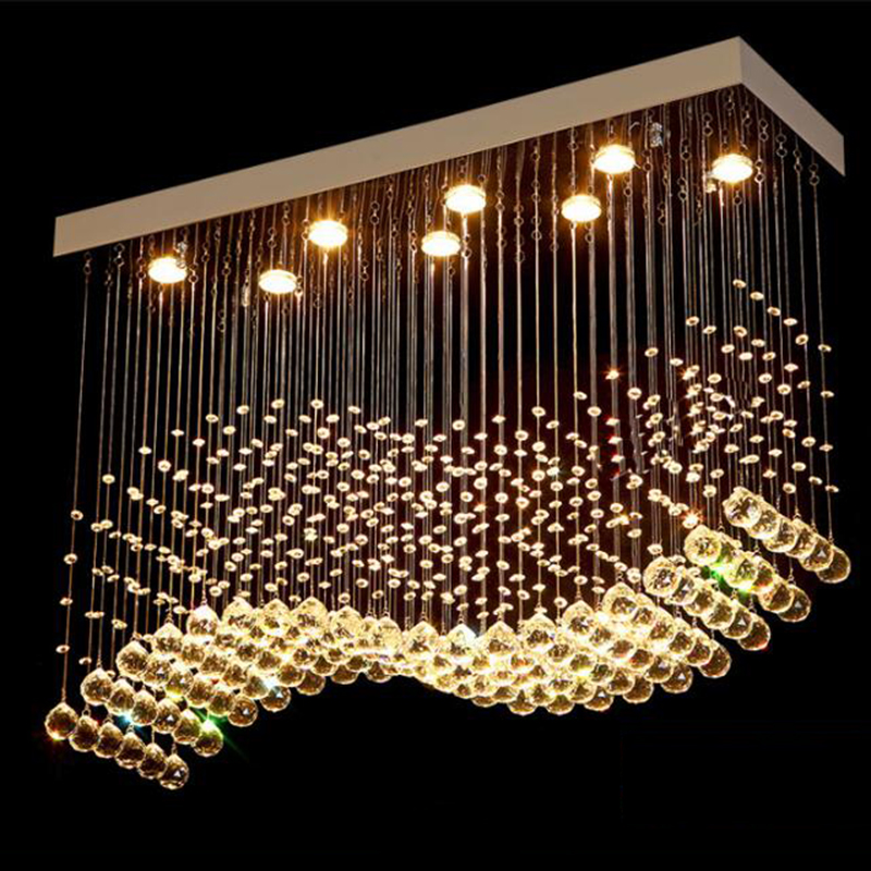 K9 Ondas Art Decor Modern Lustres de Cristal LED Chrome Terminado Luz Suspensão Iluminação Do Hotel Villa Lâmpada Pendurada