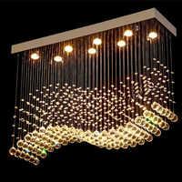 K9 lustres de cristal led chrome terminado onda luz arte decoração moderna iluminação suspensão do hotel villa lâmpada pendurada