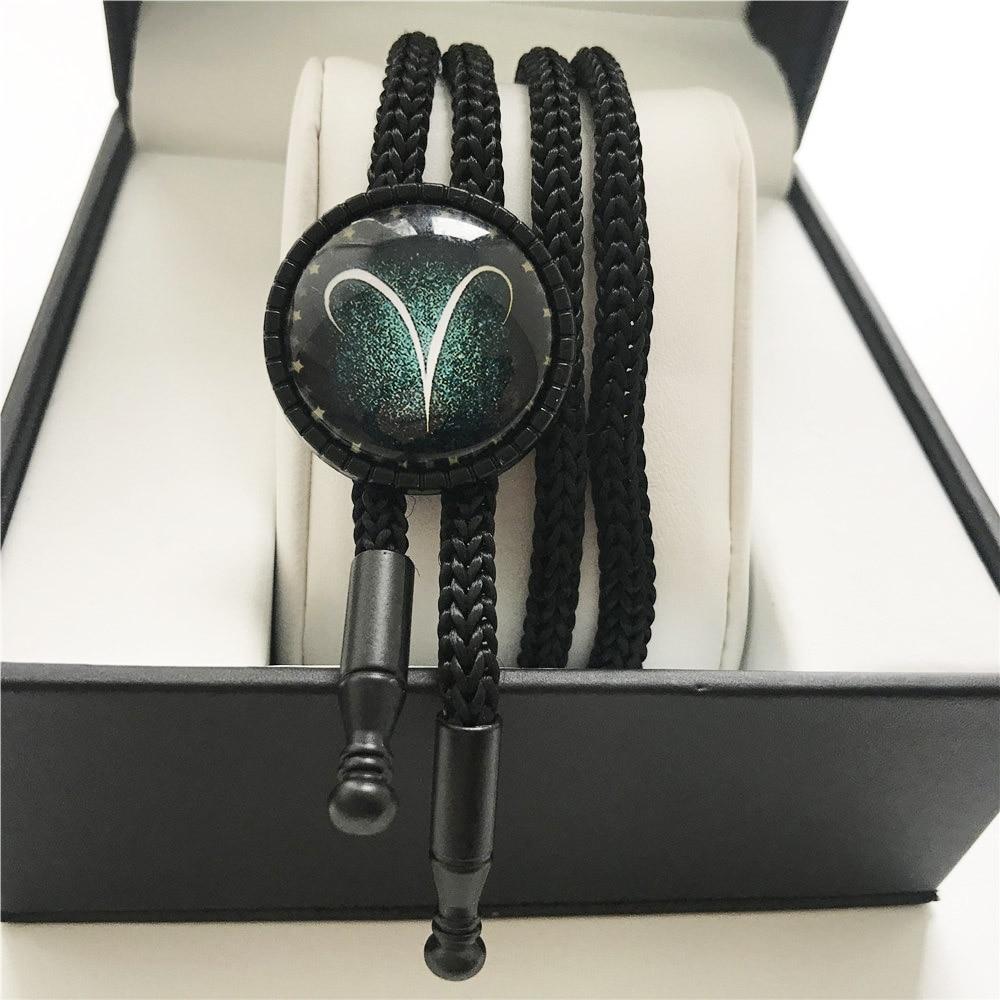 12 Stern Sternzeichen Bolo Krawatte Widder Mode Schmuck Konstellation Krawatten Hals Tragen Büro Kleidung Halskette