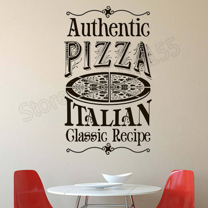 Pizza Kitchen Wall Decal Quotes Authentic Pizza Italian Classic Recipe Wall Stickers Interior Pizza Pattern Design Decal ZW380 image