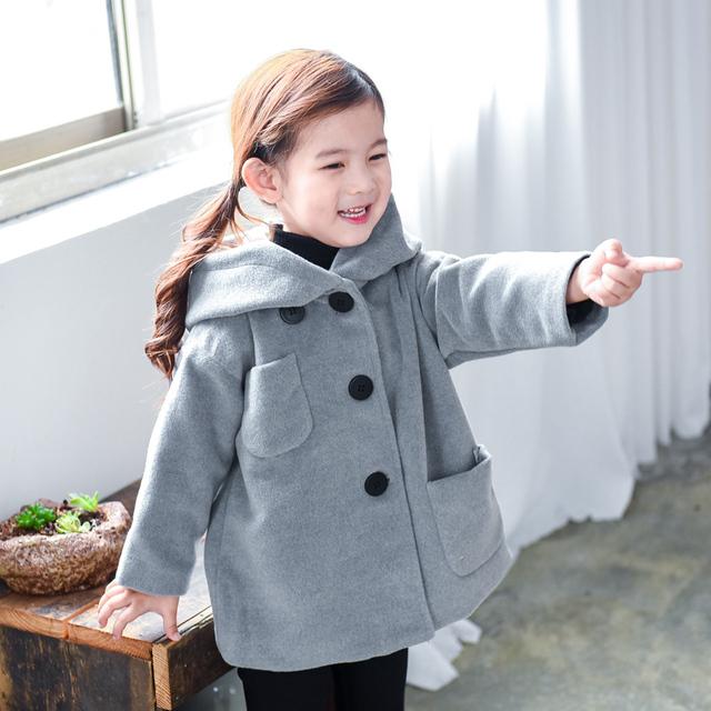 Niñas bebés ropa de abrigo niño otoño y el invierno 2016 ploughboys de vestir exteriores de lana, además de terciopelo grueso abrigo de lana