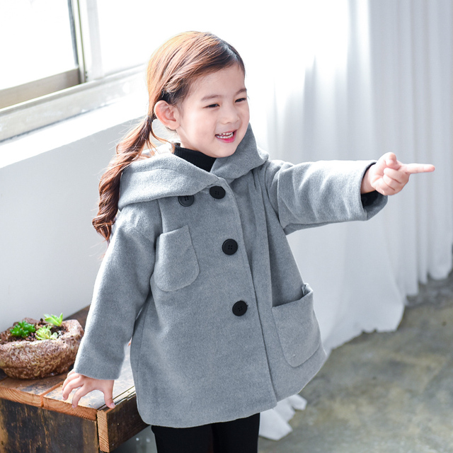 baby girls clothes child outerwear autumn and winter 2016 ploughboys woolen outerwear plus velvet thick woolen overcoat
