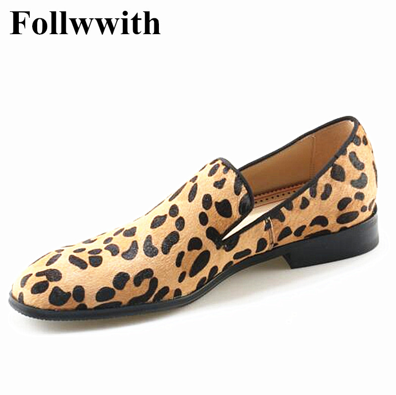 Newest Horsehair Leopard Slip On Men Loafers Sapatos Mujer Casual Shoes Flats Square Toe  Men Shoes Size 37-47 fashion tassels ornament leopard pattern flat shoes loafers shoes black leopard pair size 38
