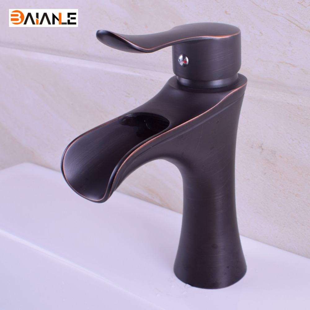 Basin Faucet Deck Mounted Black/ORB Single Hole Hot and Cold Water Bathroom Sink faucets Bath Accessories Tap Mixer
