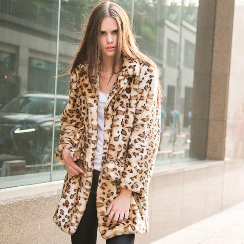 297e096f98d Autumn Winter Women Faux Fur Coats Faux Rabbit Fur Female Plus Size Leopard  Fur Jackets Medium Solid Outerwear 5XL 6XL W460