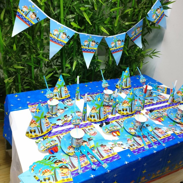 Pirate Kids Birthday Party Decoration Set Party Supplies Cup Plate Banner Hat Straw Loot Bag Fork & Pirate Kids Birthday Party Decoration Set Party Supplies Cup Plate ...