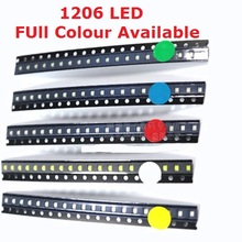 100pcs 1206 SMD White Red Blue Green Yellow Super Bright 1206 SMD LED Diodes 3.2*1.6*0.8MM  Warm White Orange Purple bead