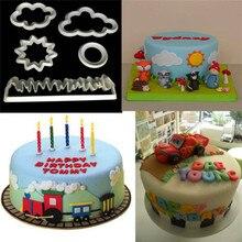 цена на TTLIFE 5pcs Cloud Sun Lawn Cookie Cutter Plastic Fondant Cake Baking Mold Fondant Cake Decorating Tools Sugarcraft Biscuit Mould