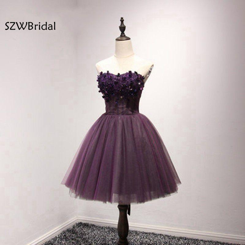New Arrival Lace Appliques Beaded Short   Bridesmaid     dresses   2019 Purple   bridesmaid     dress   Robe demoiselle d'honneur