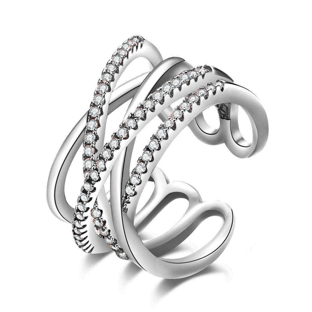 925 sterling-argent-bijoux couronne anneaux femme double croix cz cristal infini bague argent 925 femme anillos mujer anel