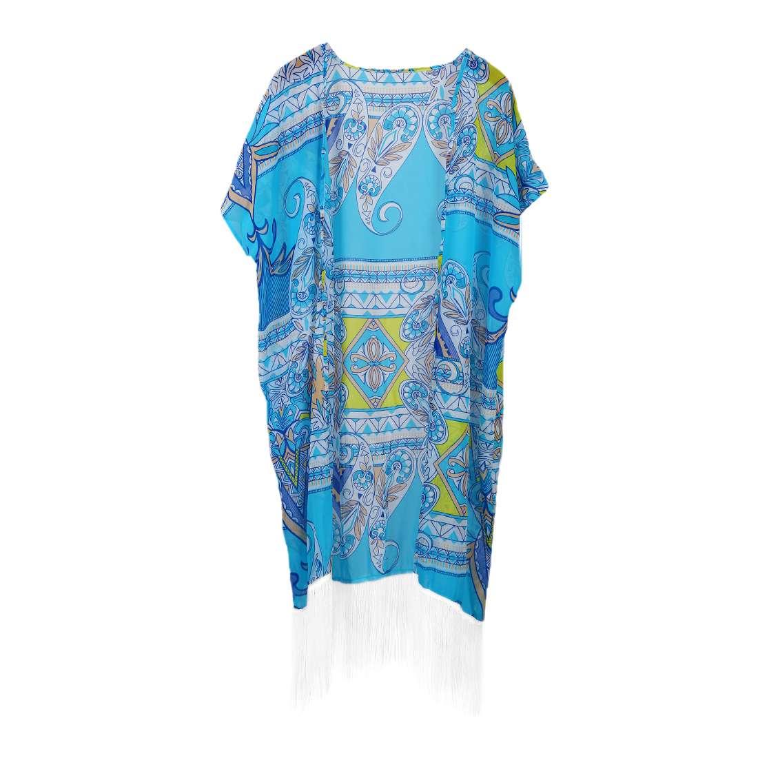 Women Bikini Beach Cover Swimsuit Bathing Suit Chiffon Cardigan, Blue One Size