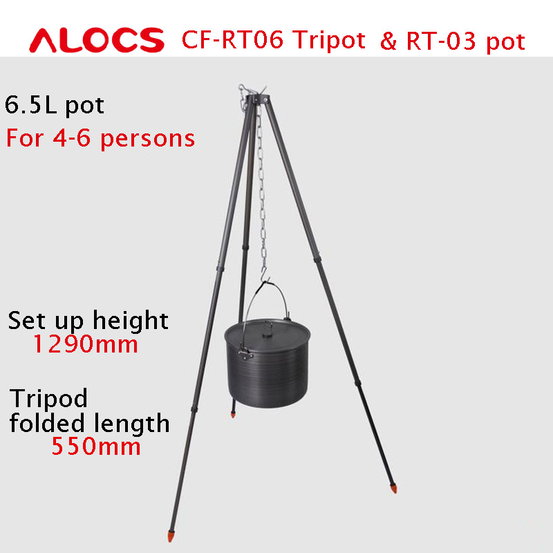 ALOCS 4-6 Persons RT-03 Pot & Tripod Set  Versatile Outdoor 6.5L Hanging  Camping Cooking Picnic Cookware  and Cover чайник походный alocs love road off cw k04 alocs cw k04 pro