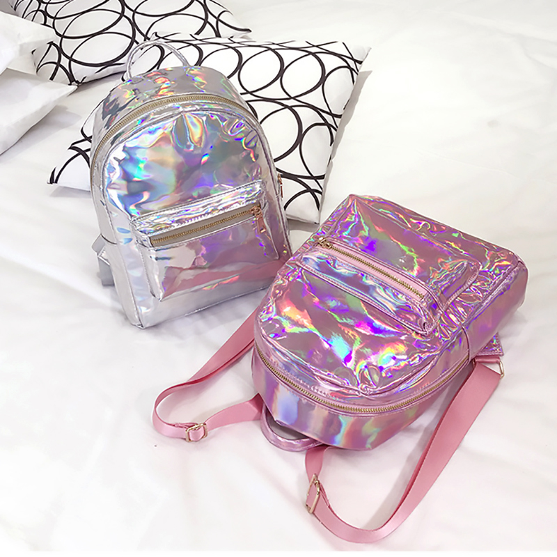 Preppy Style Women Hologram Backpack Shiny School Bags For Teenager Student Girls Laser Schoolbags Female Travel Bagpack Mochila|backpack for teenager|women backpack|preppy backpack - title=