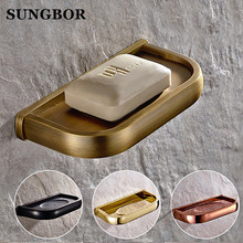 купить Wall Mounted Soap Dish Holder Solid Brass Soap Dispenser Copper Chrome/Gold/Rose Golden/Antique/ Black Bathroom Accessories по цене 1385.26 рублей