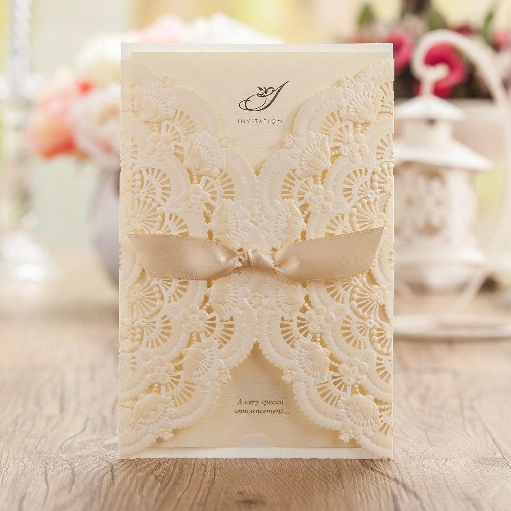 Elegant Wedding Invitation Cards Design: Elegant Beige Lace Wedding Invitations Invite Cards With