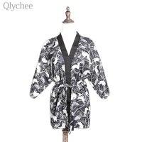 Rabbit Print Japanese Kimono With Belt Vintage Original Tradition Yukata Dress Set With Shorts Sexy Costumes