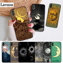 Lavaza Sun and moon Black Silicone Case for iPhone 5 5S 6 6S Plus 7 8 11 Pro X XS Max XR