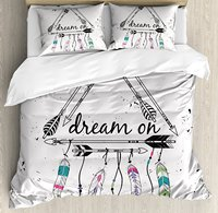 Indie Duvet Cover Set Boho Style Tribal Ethnic Arrows Triangle Shape Dream On Hand Writing Feathers 4 Piece Bedding Set