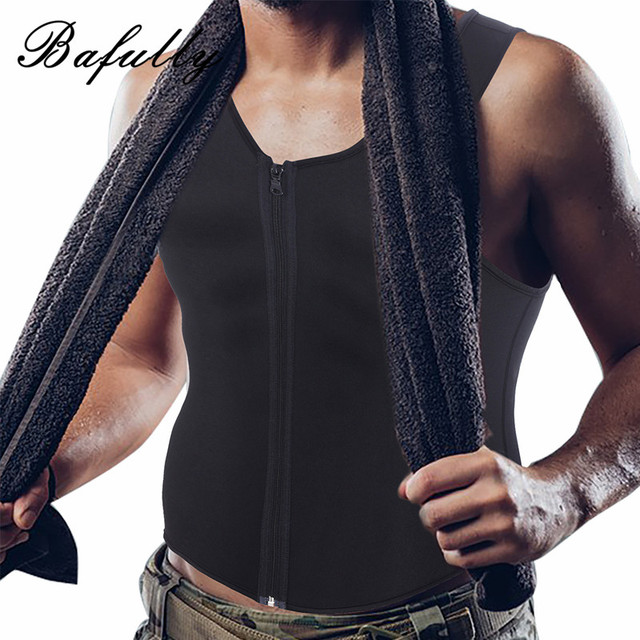 a4741d206a1 Neoprene Men s Slimming Waist Belly Shaper Sauna Sweat Suits Trainer Muscle Shapewear  Vest Tops Burner Fat Fitness Shaper Zipper