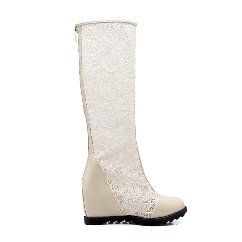 Dentelle Beige Bottes blanc Genou Antumn Brevet Pu Femmes Ronde Mode Talons Glissière Haute 2018 noir Femelle Orteil Insert Wetkiss Chaussures 5AqTFF