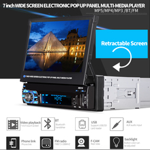 Universal 7 Inch 1 Din Bluetooth Car Radio HD Touch Auto Retractable Screen Car Video Stereo Player Support Mirror Link / Aux In цена в Москве и Питере