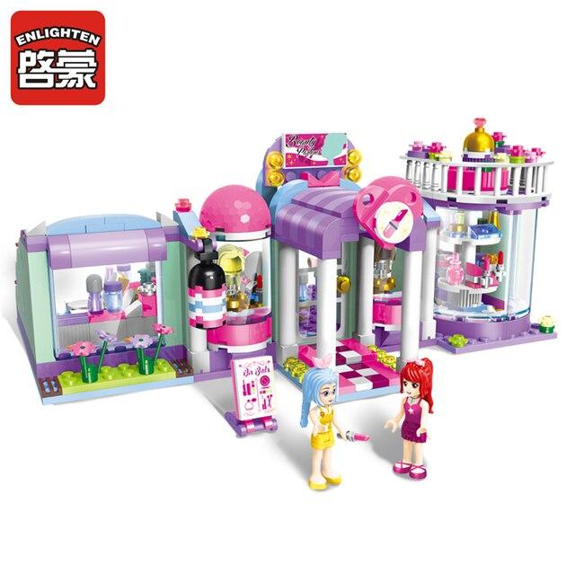 ENLIGHTEN 487pcs Set City Beauty Shop Building Blocks Toys For Children Kawaii Gifts Educational DIY