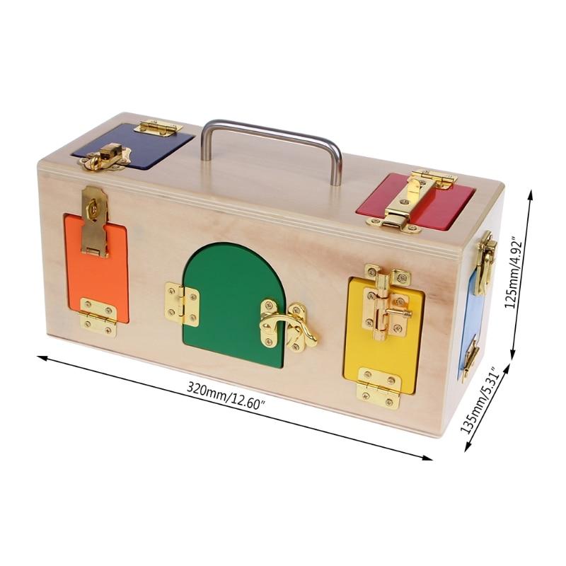 Montessori Colorful Lock Box Kids Children Educational Preschool Training Toys 95AE