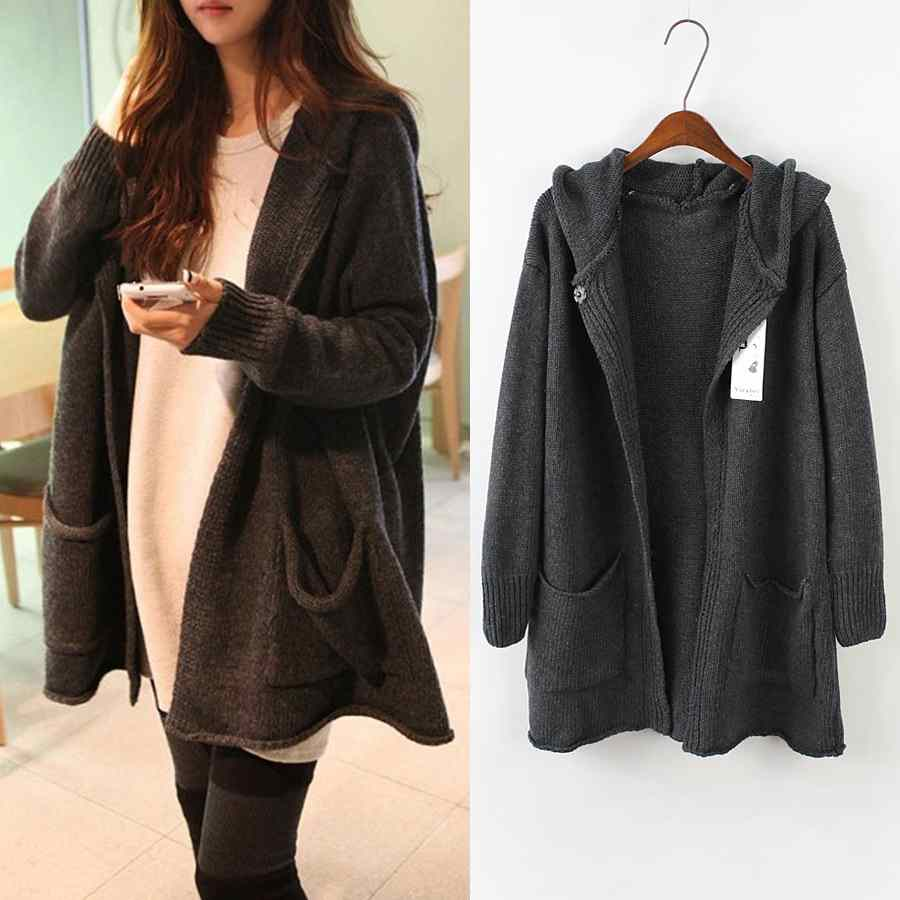 East Gate mounted hooded thickened relaxed plus size long sweater ...