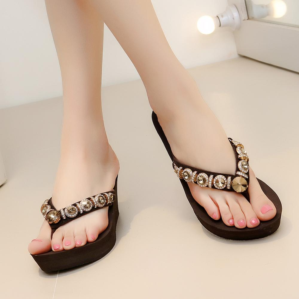 8c7c8c2e6895f AIMONE Women Flip Flops Women Frederica Rhinestone Sandals Beach Slippers  Shoes Summer Sandals Flip Flops Lady Wedges Shoes-in Flip Flops from Shoes  on ...