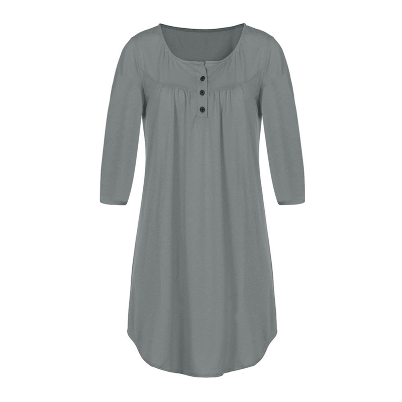 Plus Size Women tshirt dress Ladies Long Sleeve Swing Loose Casual Dress solid Autumn casual dress 5 colors