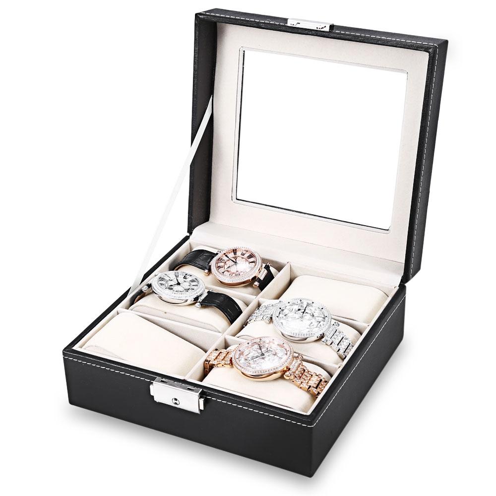 Prix pour 2017 Nouveau Fshion Montres Boîte Noir 6 Grilles En Cuir Lunettes Montre Affichage Box Collection Couvercle En Verre Grande Taille Organisateur relogio