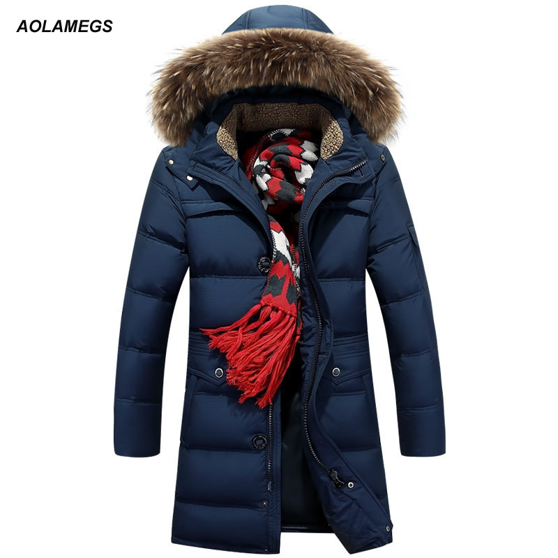 Aolamegs Winter Parkas Thicken Warm White Duck Down Jacket Men Fur Collar Hooded Windproof Coat Jackets Fashion Casual Outerwear