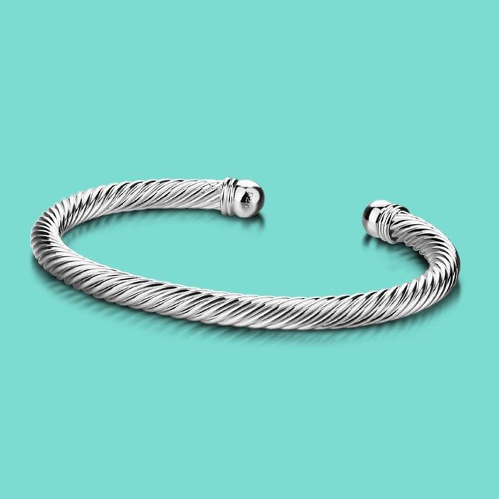 Femme 925 bracelet en argent sterling, Concise style La vague motif conception, dame De Mode bijoux en argent, ouvert Solide argent bracelet