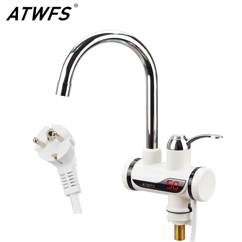 ATWFS Newest Tankless Instantaneous Faucet Water Heater Instant Water Heater Tap Kitchen Hot Water Crane LED Digital EU Plug