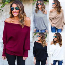 Sweater Women 2019 new Harajuku Casual Solid Loose Long Sleeve Knitted Sweater Sexy Off Shoulder Batwing Sleeve Pullover Sweater недорого