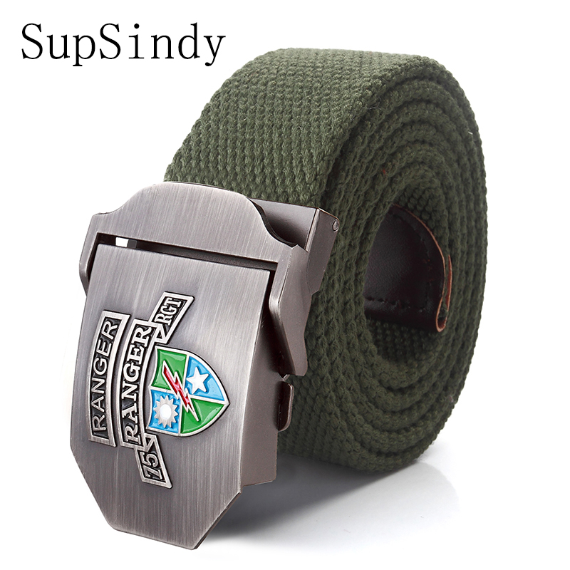 SupSindy canvas belts US 75th Ranger Regiment Alloy buckle military men belt Army tactical belts for Men Best quality male strap