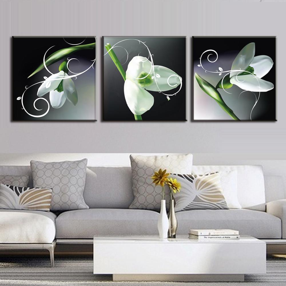 3 pcs set new flower painting white lily set canvas print for 3 panel wall art