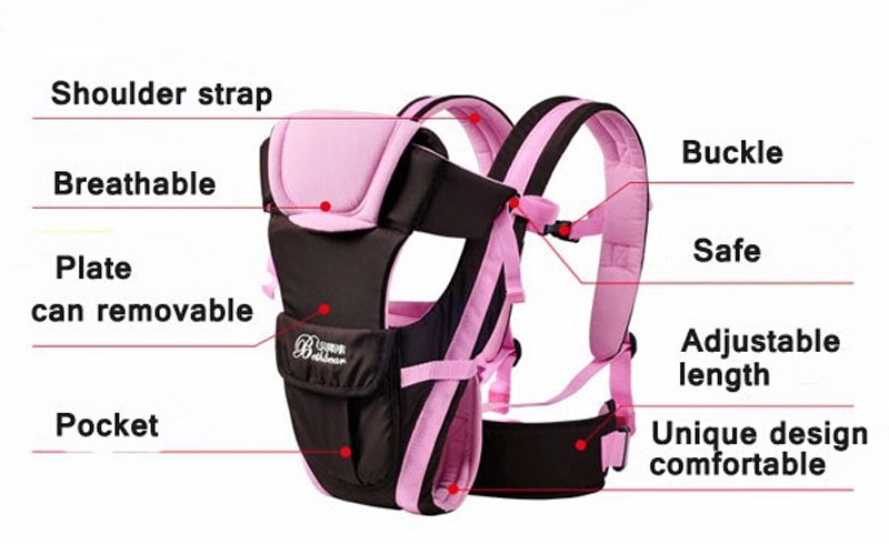 0-30 Months Breathable Front Facing Baby Carrier 4 in 1 Infant Comfortable Sling Backpack Beige One size 1