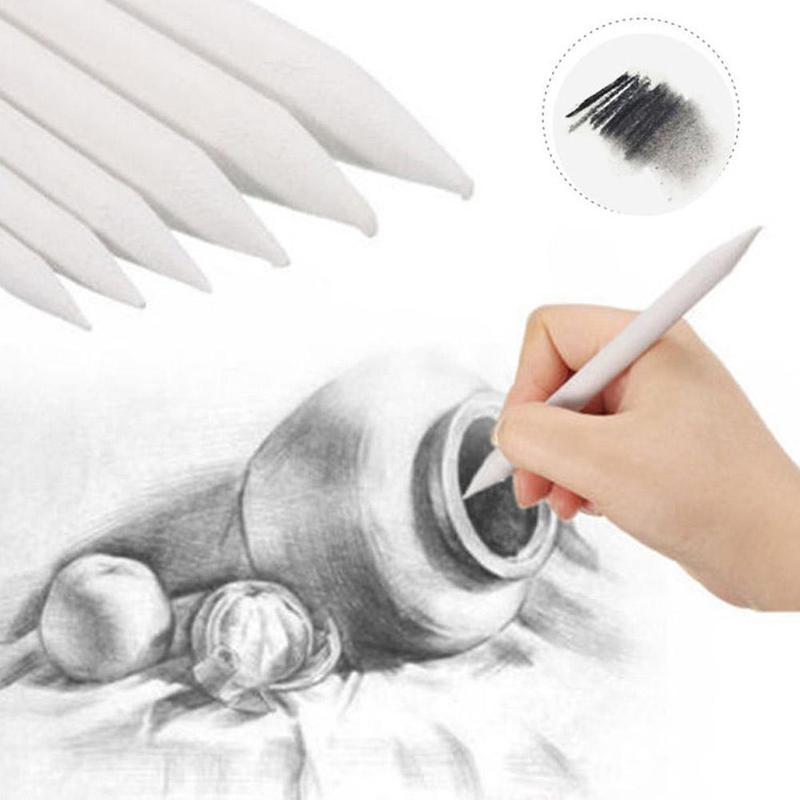 3 Pcs Blending Smudge Stump Stick Tortillon Sketch Art White Drawing Pen Tool Rice Paper For Making Shadows, Dark Areas