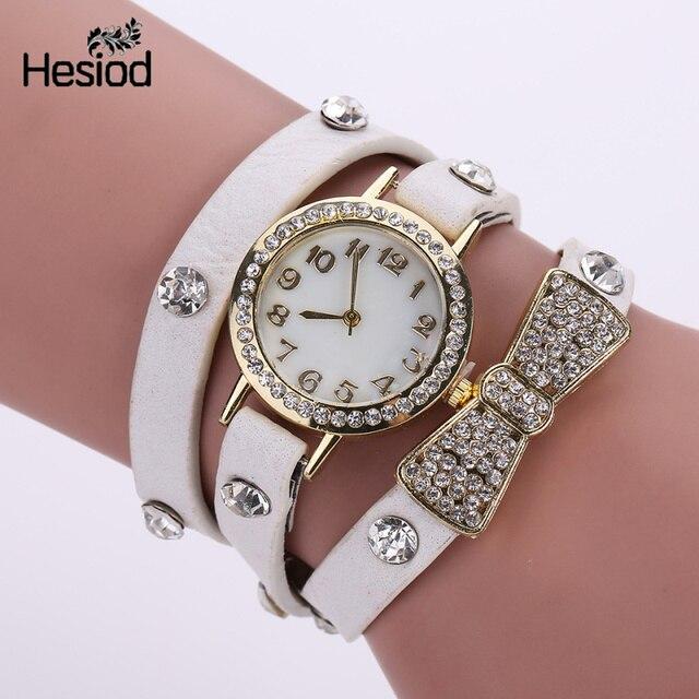 Fashion Leather Bracelet Watch Women Casual Bowknot Crystal Dress Vintage Wristw