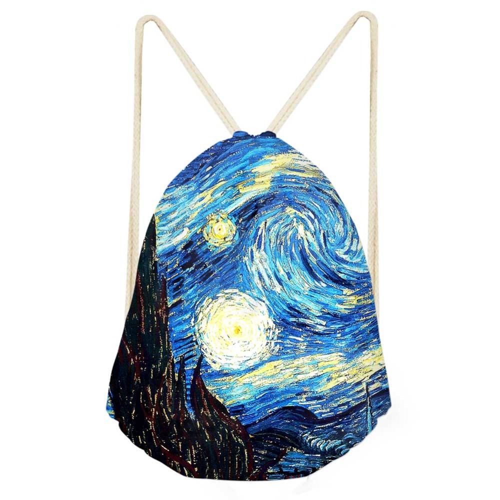 Drawstring Bag Women's Van Gogh Star Oil Painting Backpack Females Shopping String Pouch Kids Girls Mini Storage Pocket Bolsa
