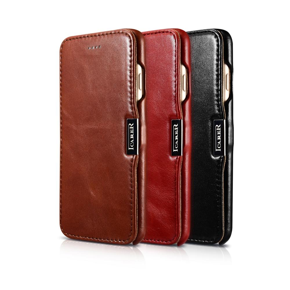 imágenes para Icarer para iPhone 7 Más la Caja de Cuero para el iphone 7 Caso Flip Folio de La Cubierta Magnética Del Cuero genuino para el iphone 6 6 s Negro marrón
