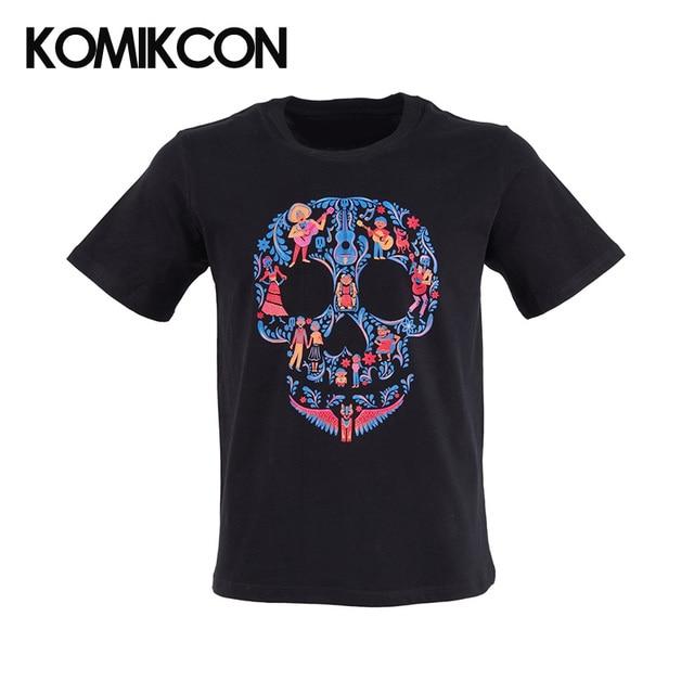 dbbfa19e1 COCO Sugar Skull Black T-shirt Cotton Short Sleeve Day of the Dead Skull  Printing Adult's Basic Tee