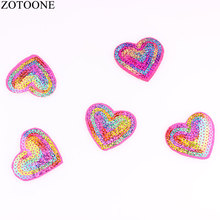 ZOTOONE 10Pcs Cute Love Patches Sequins For Clothing DIY Cheap Embroidered Hippie Iron On Kids Cartoon Stickers Badges G