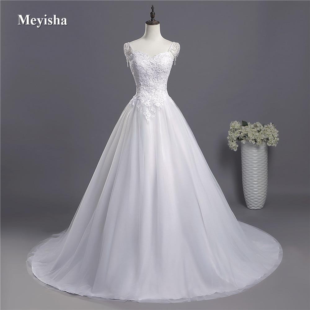 ZJ9041 2018 Lace Spaghetti Straps White Ivory Fashion Sexy Wedding Dresses For Brides Plus Size Maxi Size 2-26W Train