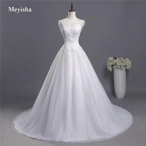 Image 1 - ZJ9041 2018 koronki paski spaghetti białe kości słoniowej moda seksowne suknie ślubne dla panny młodej maxi plus size rozmiar 2 26W pociągu