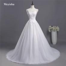 ZJ9041 2019 2020 תחרה ספגטי רצועות לבן שנהב אופנה סקסי שמלות כלה עבור כלות בתוספת גודל מקסי גודל 2 26W רכבת