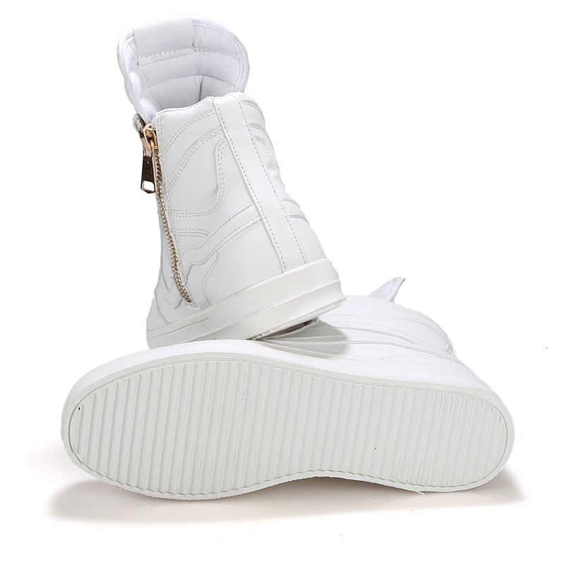 70565307ecf7d7 2016 New Fashion PU Leather Men's Winter White Boots Flat , Men Ankle Boots  Black Yezzys Hip hop Shoes , Men Catwalk Boots-in Men's Costumes from  Novelty ...