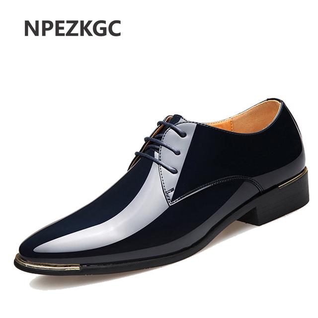 NPEZKGC 2018 Newly Men's Quality Patent Leather Shoes Zapatos de hombre Size 38-47 Black Leather Soft Man Dress Shoes