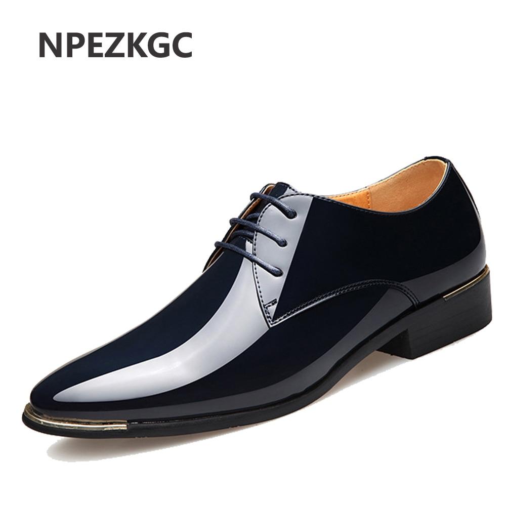 NPEZKGC 2019 Recém masculina Qualidade do Couro de Patente Shoes Zapatos de hombre Tamanho 38-47 Homem de Couro Preto Macio sapatas de vestido